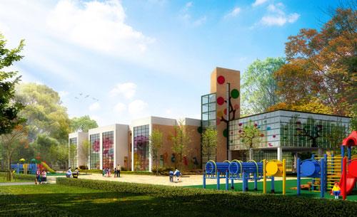 幼儿园建筑整体效果图