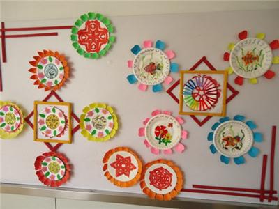 幼儿园墙面装饰剪纸风格效果图