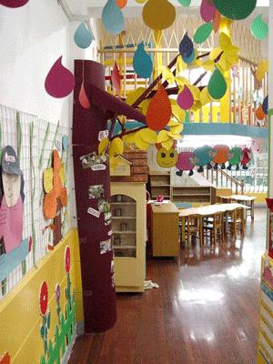 国内幼儿园很注重走道墙面以及天花板的装饰,大多会采用废物利用做成