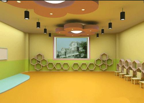 幼儿园以孩子们集体活动的空间为中心,在这个空间周围分布上个教室