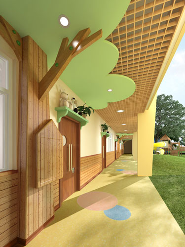 幼兒園設計室外走廊效果圖